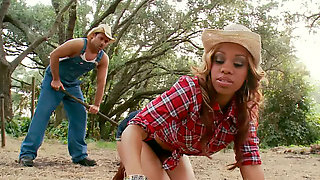Black chick rode a large cock of cowboy in the farm