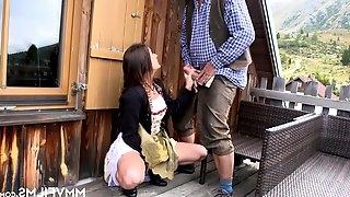 German babe Lullu Gun - The Bavarian Teen fucked on farm by old man