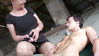 Old woman with high sex drive Marta fucks one young man in public