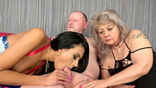 Sabele increased by naughty Veronique take turns at playing with a dick