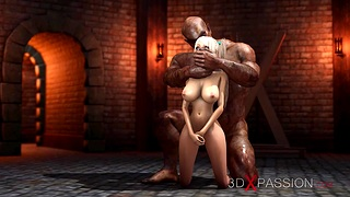 A sexy tow-headed gets fucked guestimated wits a big monster in the dungeon