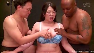 Interracial MMF threesome with cum warm Japanese Kayama Natsuko