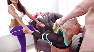 Toast of the town couple Francesca Le and Mark Wood fuck one naughty blond student