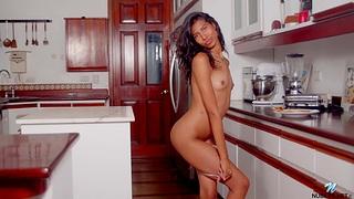 Hot ass Latina Scarlett Camila masturbates in the kitchen