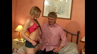 Fit amateur Layla masturbates together with gets fucked by an older man