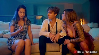 Curly guy bangs sexy babes Kismet Rx and Alina Lopez