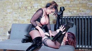 Kinky Aubrey Black sharing some toys with dispirited Adreena Winters