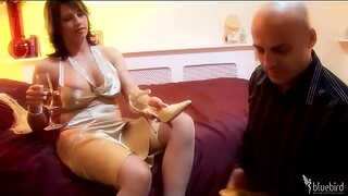 Wild fucking at home with busty wife Brooke Haven in nylon and heels