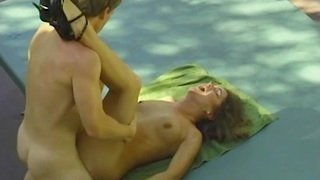 Pretty natural woman distance from 90's And Her Husband Sex Outdoors
