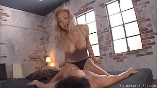 Gorgeous Japanese model thither perfect boobs enjoys riding a dick