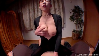 Busty post babe shows off in pure Japanese hardcore