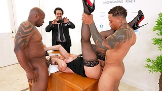 Hardcore interracial MMF threesome with MILF pornstar Brandi Love