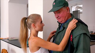 Younger Bonnie Dolce being fucked hard by an older lady's man in HD