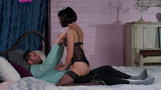 Stunning babe Kenna James puts overhead stockings before impassioned sex with her boyfriend