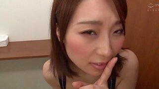Hachino Tsubasa sucking a dick in POV video & getting a cumshot