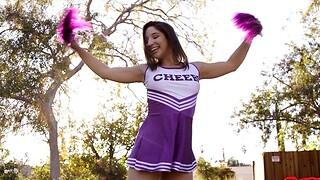 Naughty cheerleader Abella Wager enjoys riding a huge penis