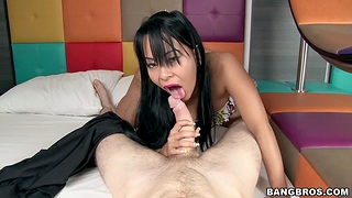 Naughty Latina Paola teases about her ass and sucks a large dick